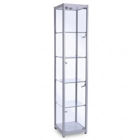 400mm Glasvitrine Quadrat Vollglas Aluminium Vitrine