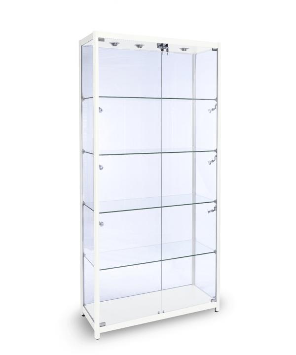 1200mm Standvitrine Quadrat Vollglas Aluminium Vitrine