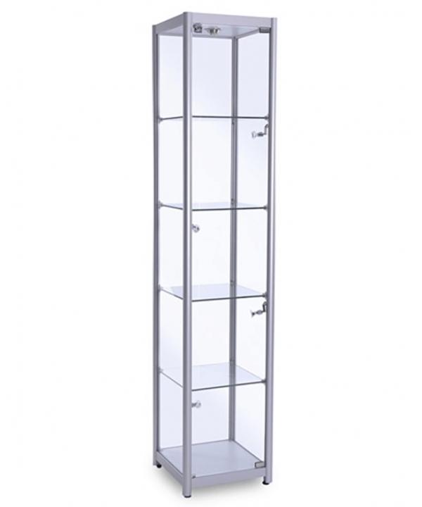 400mm Square Full Glass Aluminium Cabinet