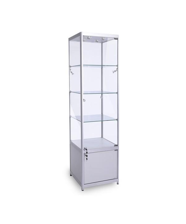 500mm Satin Silber Säulenvitrine-GB-500-32