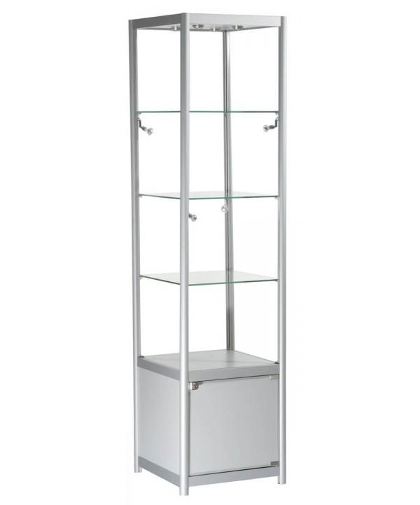 500mm Aluminium Glasregal mit Unterschrank