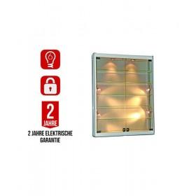1000mm x 1200mm Glas Wandvitrine mit LED Beleuchtung