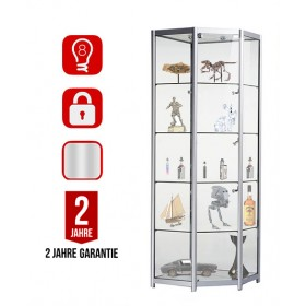 750mm Aluminium Ecke Vollglas Display Schrank