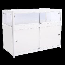 1200mm - 600mm Tischvitrine Hochglanz weißmit Unterschrank LED-beleuchtung