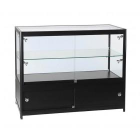 1200mm Double Tier Satin Schwarzes Glas und Speicher Display Zähler