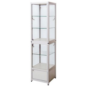 500mm Faltbare Glasvitrine mit 3 Fachböden und Unterschrank