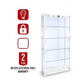 1000mm Hockglanz Weiß Aluminium Glas Schrank - LED Beleuchtung
