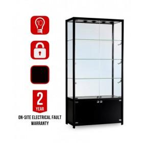 1000mm x 500mm Glasvitrine Satin Schwarz mit Unterschrank LED Beleuchtung
