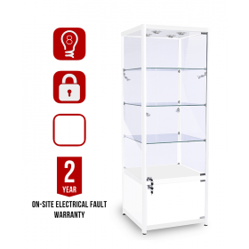 600mm x 400mm Glasvitrine Glanz Weiß mit Unterschrank LED Beleuchtung