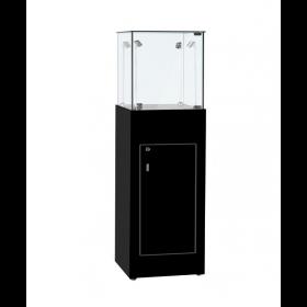 500mm Hockglanz schwarz Schmuck Sockelvitrine mit Unterschrank, LED Beleuchtung
