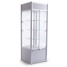 650mm Satin Silver Aluminium Cabinet With Storage & Branding