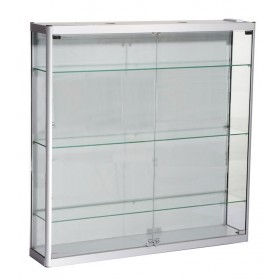 1000mm x 1000mm Satin Silver Wall Display Cabinet