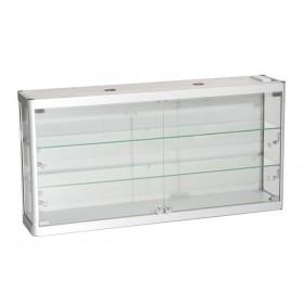 1200mm x 600mm Satin Silber Glas Hängevitrine mit LED Beleuchtung