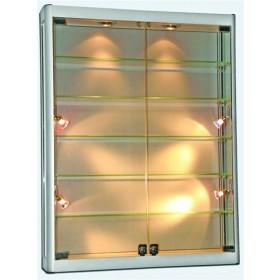 1000mm x 1200mm Satin Silber Glas Wandvitrine mit LED Beleuchtung