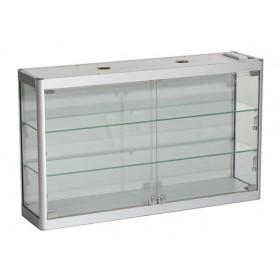 800mm x 600mm Satin Silver Wall Display Cabinet