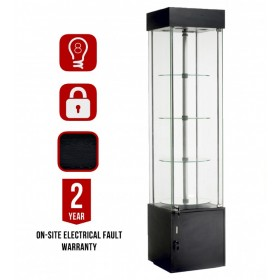 457mm Glass & Storage Square Top Lighted Rotating Display Cabinet